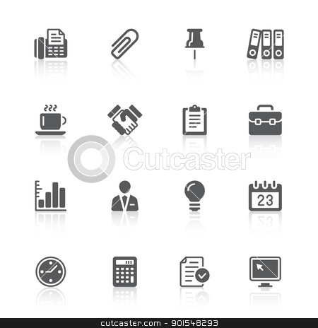 business & office icons stock vector clipart, black business office icons with reflections  by artizarus