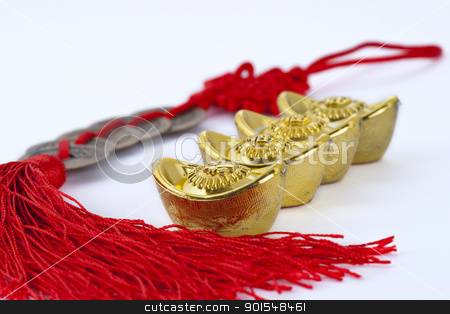 Chinese new year decoration stock photo, Gold ingots and copper coins by pixs4u