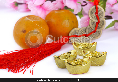 Chinese new year decoration stock photo, Gold ingots and copper coins with oranges and plum blossom by pixs4u