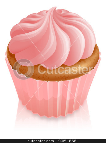 Pink fairy cake cupcake stock vector clipart, Illustration of pink fairy cake cupcake with icing by Christos Georghiou