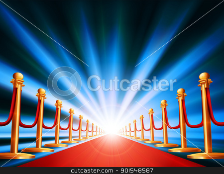 Red carpet entrance stock vector clipart, A red carpet leading to somewhere exciting with bright light and abstract background  by Christos Georghiou