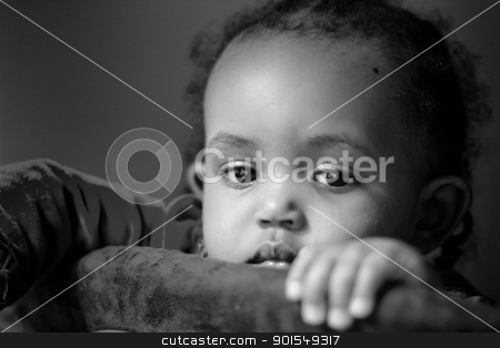 Gazing stock photo, A little baby girl staring into the camera with her pretty eyes by derejeb