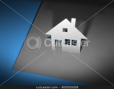 paper cutout house stock photo, An image of a stylish paper cutout house by Markus Gann