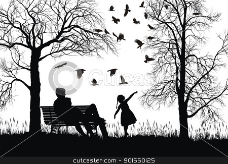 Young family in autumn park stock vector clipart, vector illustration of a young family in the park, trees and crows by Vladim?