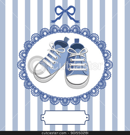 Blue baby shoes and frame stock vector clipart, Blue shoes or pair kids sneaker background, oval lace frame, ribbon and shield for you text by Ela Kwasniewski