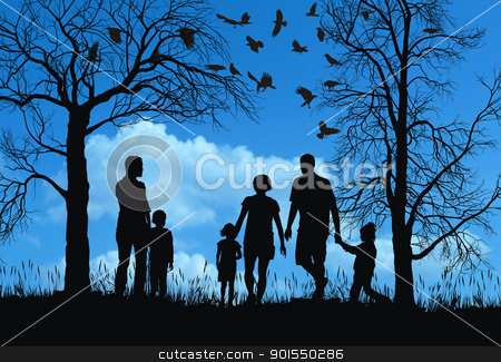 Autumn in park stock photo, Young family in autumn park by Vladim?