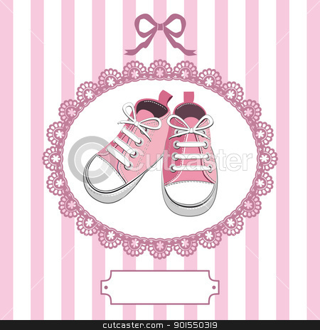 Pink baby shoes and lace frame stock vector clipart, Pink shoes or pair kids sneaker background, oval lace frame, ribbon and shield for you text by Ela Kwasniewski