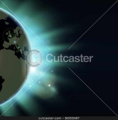 Earth eclipse concept stock vector clipart, Sun rising over the world globe. Europe and Africa showing. by Christos Georghiou