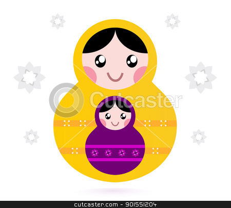 Matryoshka dolls isolated on white stock vector clipart, Russian nested dolls, also known as Matryoshka. Vector by Jana Guothova