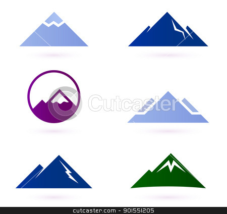 Mountain icon set isolated on white stock vector clipart, Mountains and hills icons for your adventure design. Vector Illustration by Jana Guothova