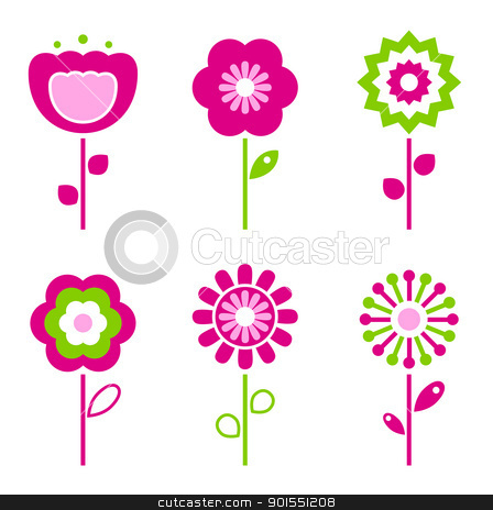 Set of retro flower elements for easter / spring stock vector clipart, Collection of green and pink retro spring flowers - vector by Jana Guothova