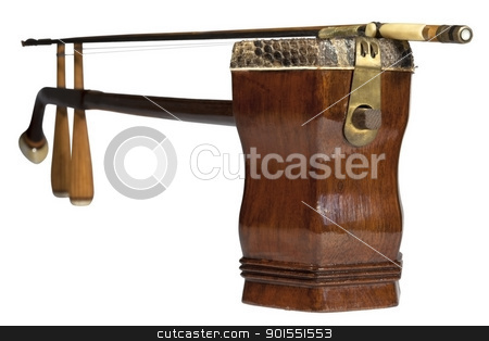 chinese classic musical instrument called er hu stock photo, chinese classic musical instrument is show from the side of the resonance box. by marekusz