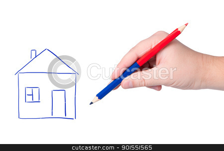 Hand with pencil drawing house.