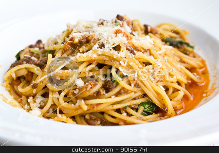 Spaghetti noodles with meat sauce stock photo, Spaghetti noodles with meat sauce on white plate by Lavoview
