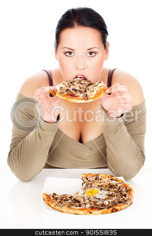 chubby woman and tastefully pizza stock photo, chubby woman enjoy eating a slice of pizza, isolated on white by iMarin