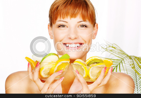 Happy woman with two fruit bowl stock photo, Portrait of a smiled girl with two bowl full of fruit in her hands by iMarin