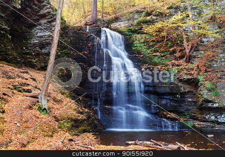 Autumn Waterfall in mountain. stock photo, Autumn Waterfall in mountain with foliage. Bridesmaid Falls from Bushkill Falls, Pennsylvania. by rabbit75_cut