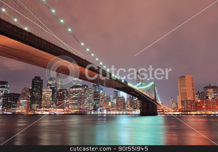 New York City Brooklyn Bridge stock photo, New York City Brooklyn Bridge with downtown skyline over East River. by rabbit75_cut