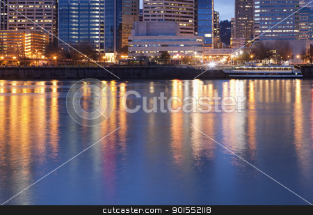 Downtown Portland, Oregon and Willamette River stock photo, Downtown Portland, Oregon and Willamette River at twilight by Bryan Mullennix