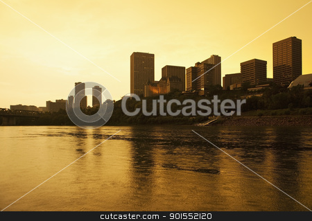 Downtown Edmonton, Canada at Sunset stock photo, Edmonton, Alberta, Canada, skyline silhoutte at dusk by Bryan Mullennix