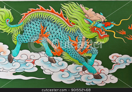 Chinese traditional kirin pattern  stock photo, Chinese traditional kirin pattern on wall in  chinese temple, Thailand by Lavoview