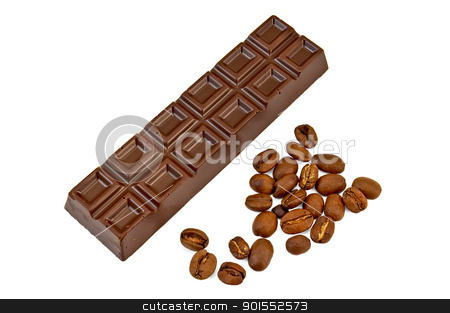 Chocolate with coffee beans stock photo, Chocolate with coffee beans isolated on white background by rezkrr