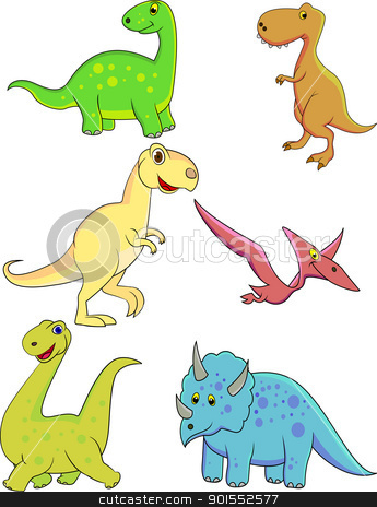 Dinosaur Cartoon stock vector clipart, Vector Illustration Of Dinosaur Cartoon by Surya Zaidan