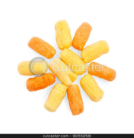 Corn sticks in the form of the sun stock photo, The sun from yellow and orange corn sticks isolated on white background by rezkrr