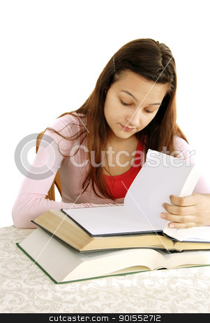 Teenage girl reading stock photo, teenage girl portrait with opened books, looking how much she needs to read, learning by Julija Sapic