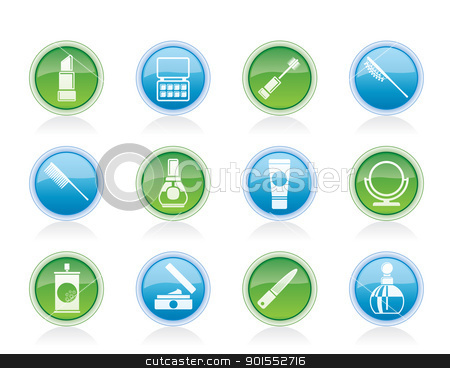 beauty, cosmetic and make-up icons stock vector clipart, beauty, cosmetic and make-up icons - vector icon set by Stoyan Haytov