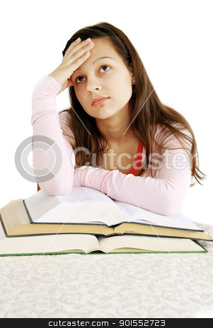 Teenage girl dreaming over books stock photo, teenage girl leans to opened books, tired of learning, dreaming by Julija Sapic