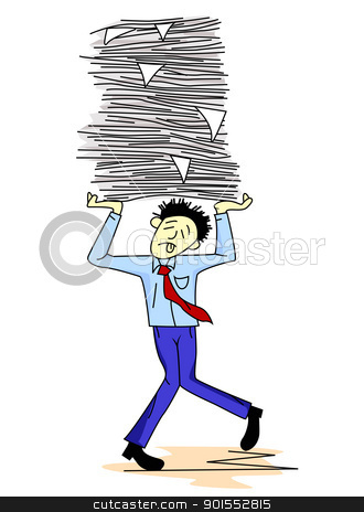 Tired man carrying paper work  stock vector clipart, Vector Illustration of  Tired man carrying paper work  by Surya Zaidan