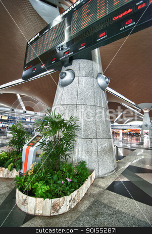 Airport Flight Board stock photo, Airport Interior with a Giant Flight Board by Giovanni Gagliardi