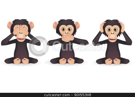 Hear no evil, speak no evil, see no evil (Three wise monkey)  stock vector clipart, Vector Illustration Of Hear no evil, speak no evil, see no evil (Three wise monkey)  by Surya Zaidan