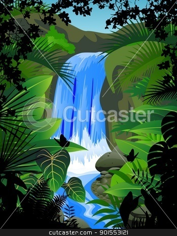 Water fall stock vector clipart, Vector Illustration Of Water fall by Surya Zaidan
