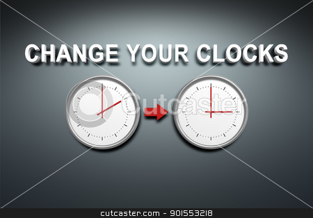 Change your clocks stock photo, A wall with the words change your clocks by Markus Gann