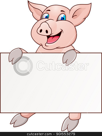 Funny pig cartoon  stock vector clipart, Vector Illustration Of Funny pig cartoon  by Surya Zaidan