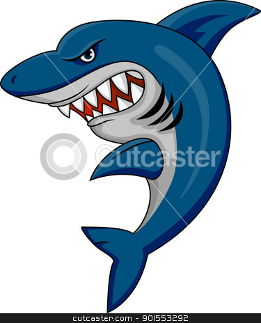 Angry Shark  stock vector clipart, Vector Illustration Of Angry Shark  by Surya Zaidan