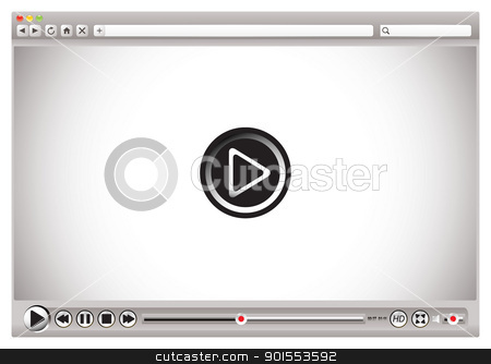 Internet video browser controls blk stock vector clipart, Internet video controls on web browser with play back bar by Michael Travers
