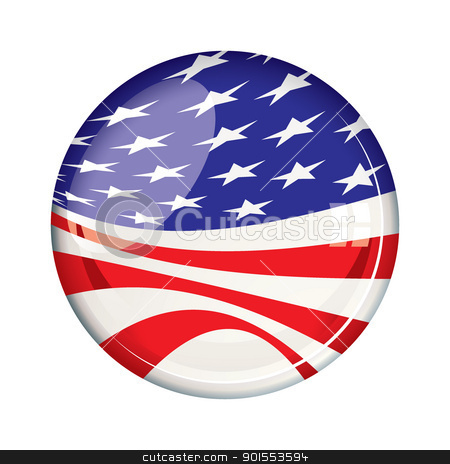 Vote 2012 American badge stock vector clipart, American stars and stripes US election flag for 2012 by Michael Travers