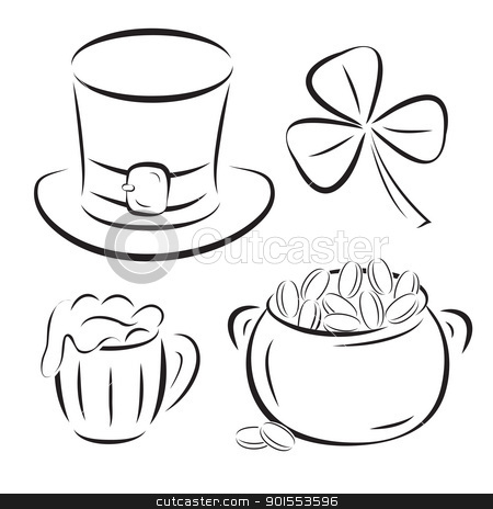 St. Patrick Day symbols silhouettes isolated on white stock vector clipart, St. Patrick Day symbols silhouettes isolated on white background. Vector illustration. by antkevyv