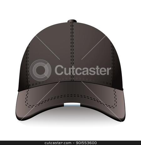 Black sports cap stock vector clipart, Modern sports or baseball cap in black with advert space by Michael Travers