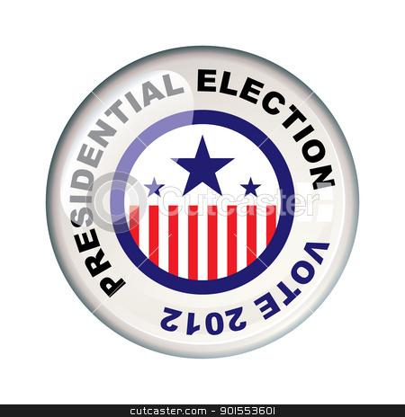 Vote 2012 presidential stock vector clipart, Presidential 2012 election in america badge icon by Michael Travers
