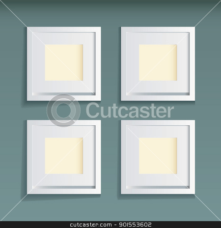 Picture frame green background stock vector clipart, Modern white wood picture frame with green wallpaper background by Michael Travers