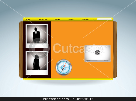 Web business template stock vector clipart, Business web template with silhouette people and video player by Michael Travers