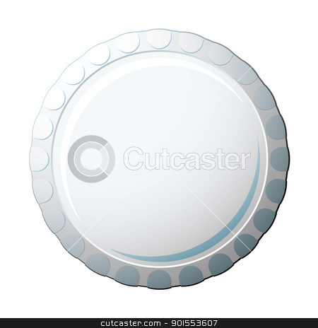 Bottle cap stock vector clipart, White soda pop bottle cap with copy space for advert by Michael Travers
