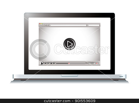 Laptop computer browser stock vector clipart, Modern laptop computer with video web browser by Michael Travers