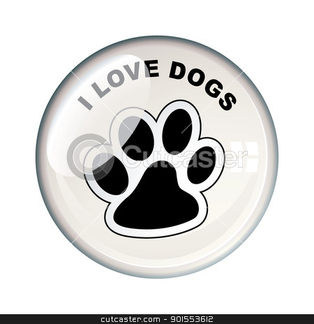 I love dogs badge stock vector clipart, Show your love for dogs with this paw print bacge icon by Michael Travers