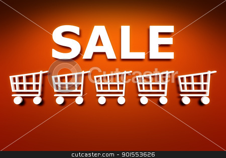 Sale at the red wall stock photo, A Sale sign at the red wall background by Markus Gann