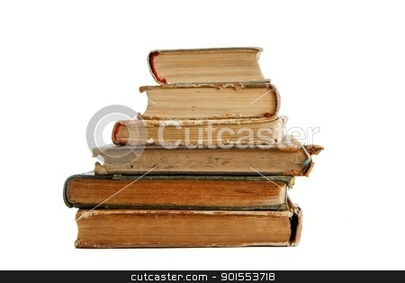 Stack of old books seen from ends isolated  stock photo, Stack of old books seen from ends isolated  by Shlomo Polonsky